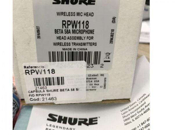 CAPSULA SHURE RPW118 PARA MICROFONE BETA 58A SEM FIO