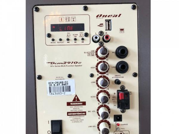 CAIXA MULTIUSO ONEAL OCM 2910B MARRON C/ BATERIA /USB/SD/FM /F.S./120W