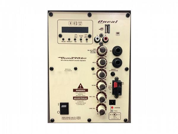 CAIXA MULTIUSO ONEAL OCM 2906B MARRON C/ BATERIA/USB/SD/FM /F.S./100W